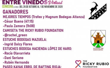 Aquí están los ganadores de los premios de la I Carrera Entre Viñedos Virtual de Cenicero.